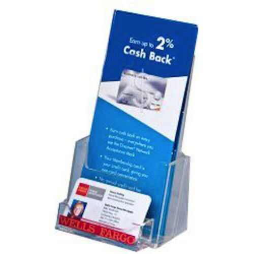 4x9 Tri-Fold Clear Brochure Holder with business card Lot of 60 DS-LHF-P100-60