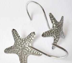 2 Pcs Shiny Silver Starfish Decorative Metal Bling Shower Curtain Rings Hooks