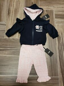 7dff840ab495b NWT NEW Fendi Baby Girls navy blue 2pc hoodie tracksuit jacket pink ...
