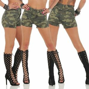 f87b033c36 La imagen se está cargando 11161-CRUJIENTES-Mujer-minishorts-Pantalon-corto -Vaqueros-Camuflaje