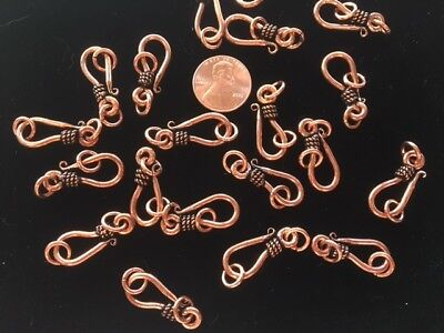 10 25MM Bali-Style SOLID COPPER Hook /& Eye Clasps TEN