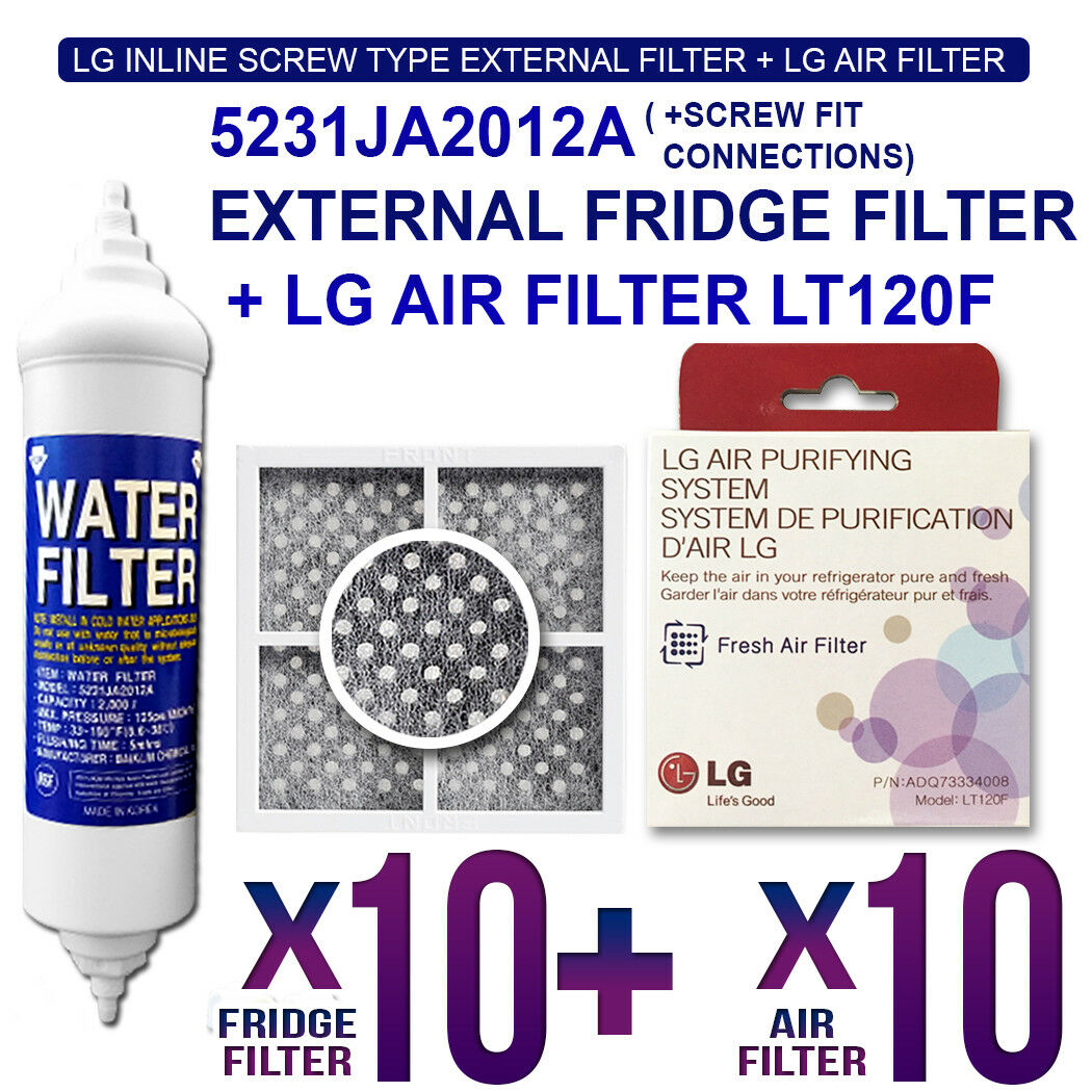 10X 5231JA2012A LG Genuine Fridge Filter with 10X Genuine LG Air Filter LT120F