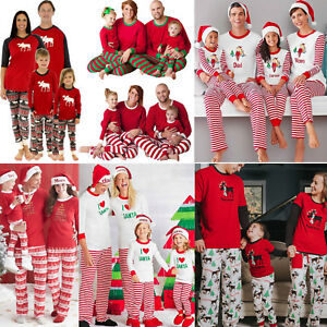 Kids Adult Christmas Pajamas Set Family Matching Pyjamas Sleepwear Nightwear Pjs