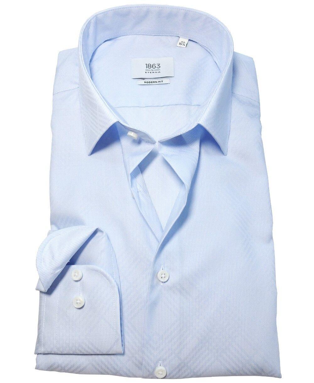 eterna 1863 Premium Langarmhemd Modern Fit in hellblau weiss Jaquard Gr. 38 - 48
