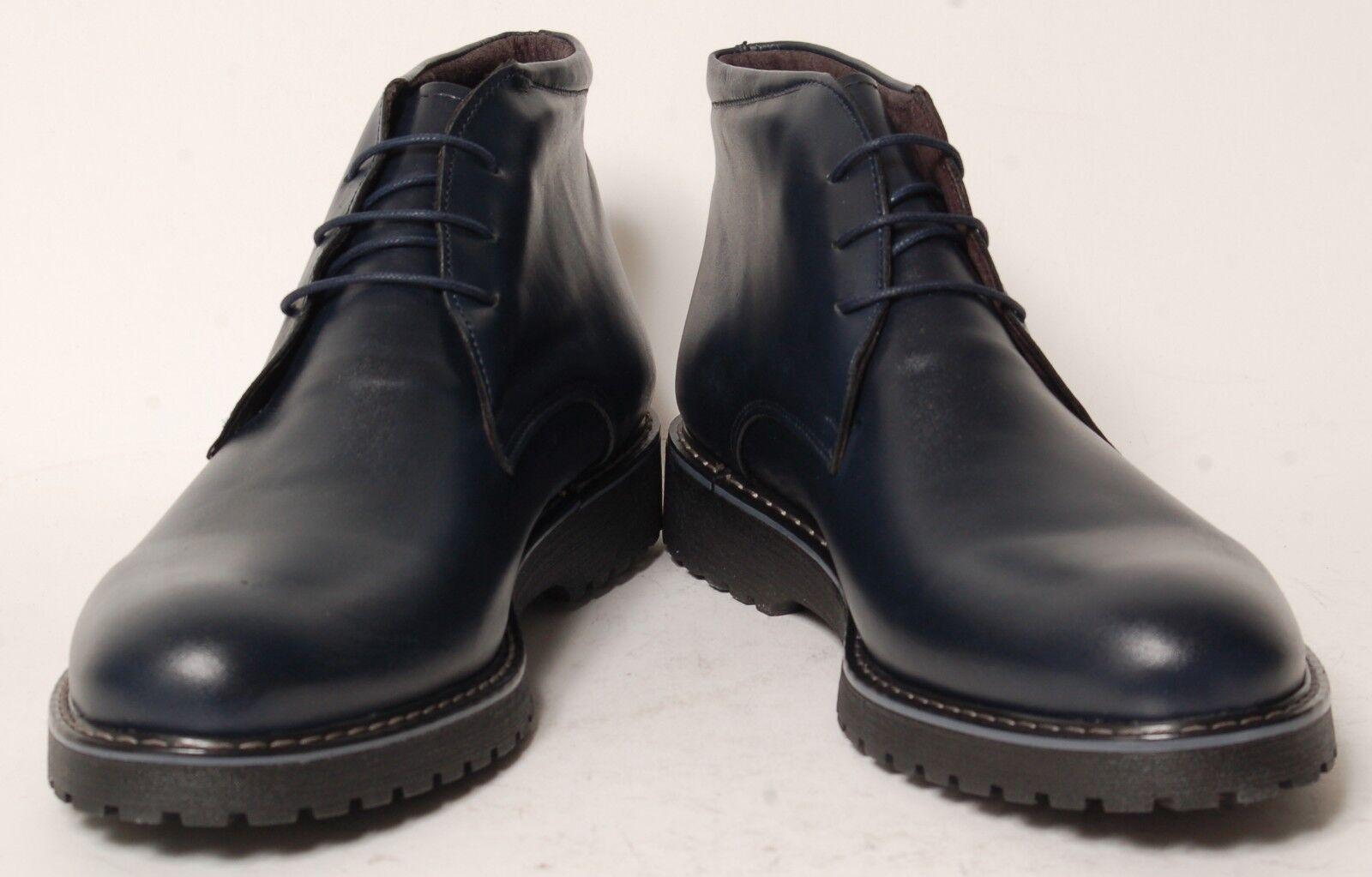 ACC   Fait Main   Chaussures Italiennes-Mi-Mollet bottes   Bleu Foncé   12