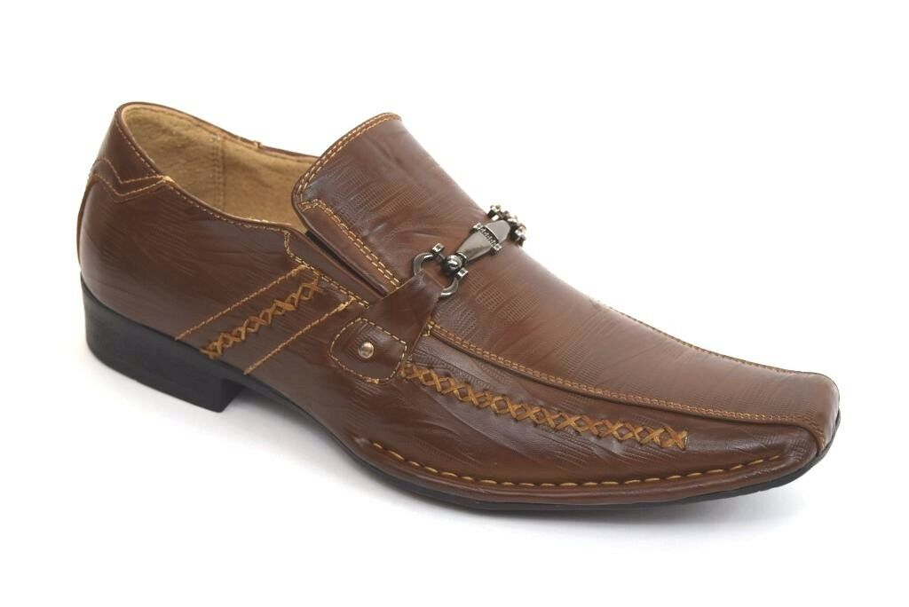 Men's Dress Casual Shoes BONAFINI G-223 Brown Slip On Loafers Leather Lining