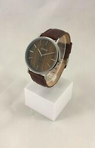 Oozoo-Uhr-Armbanduhr-Designuhr-braun-brown-dark-oak-silber-ca-40-mm-C9868
