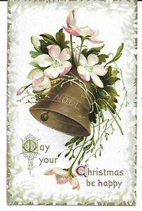 ELLEN-CLAPSADDLE-SIGNED-EMBOSSED-GOLD-BELL-ANTIQUE-CHRISTMAS-POSTCARD-1912-NICE