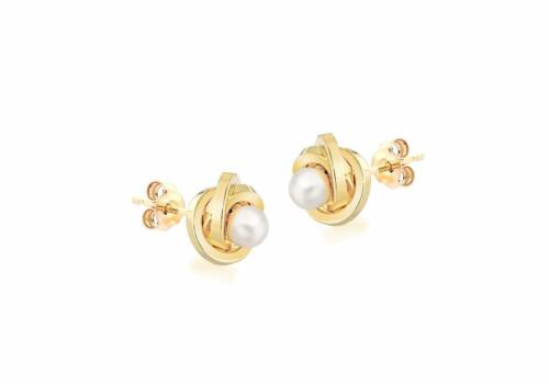 18ct Gold Round Freshwater Pearl Knot 9mm Ball Studs Earrings Gift Boxed