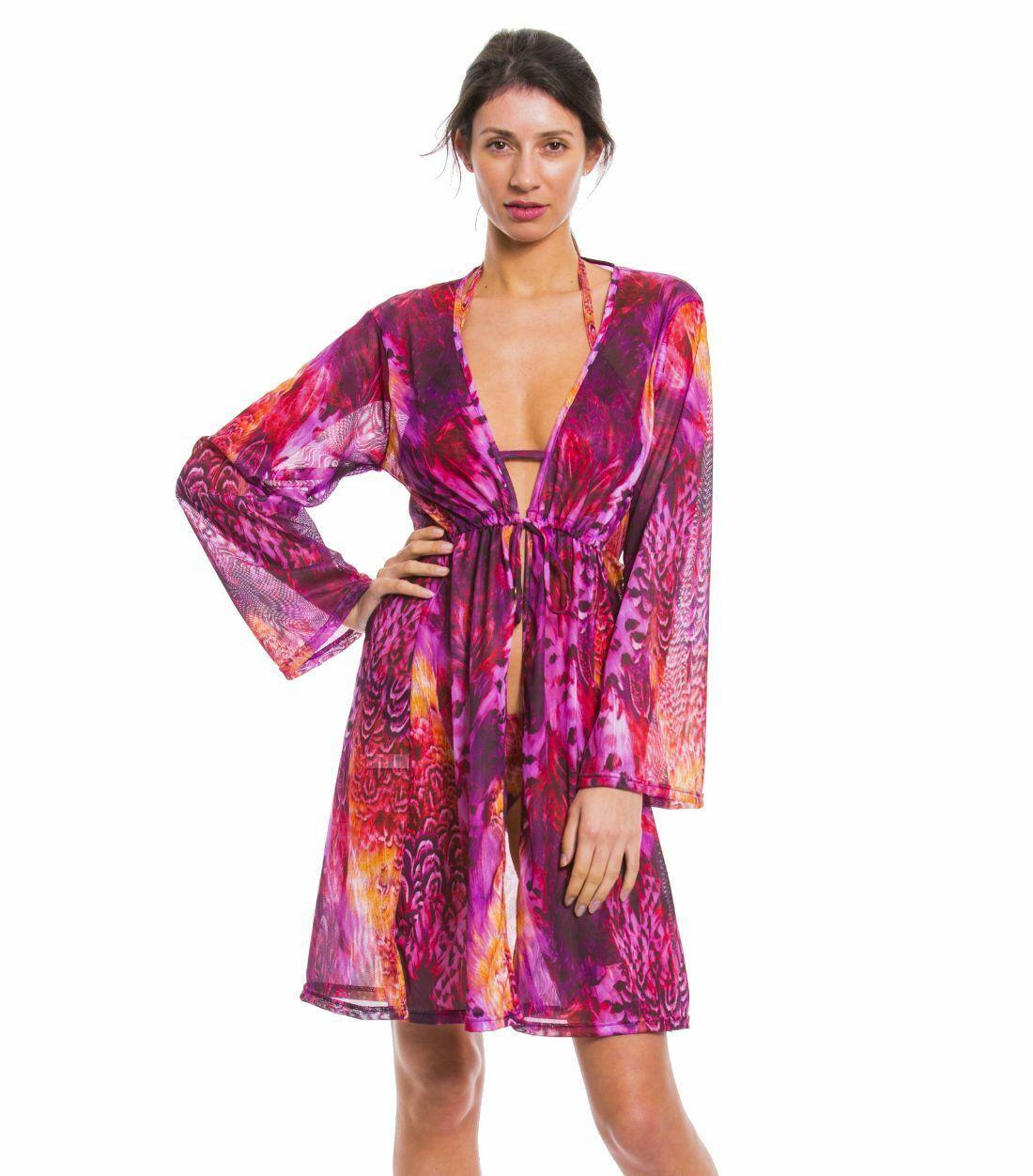 Kiniki Amalfi Purple Tan Through Sonnendurchlässiger Knielanger Strandkaftan