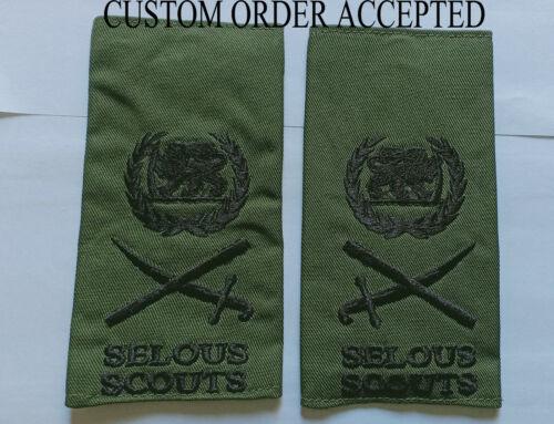 Rhodesia Rhodesian Army Selous Scouts Lieutenant General Epaulets epaulette slip