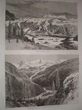 Sketches in British Columbia Tiedmann's Glacier Canada 1868 old print Ref W1