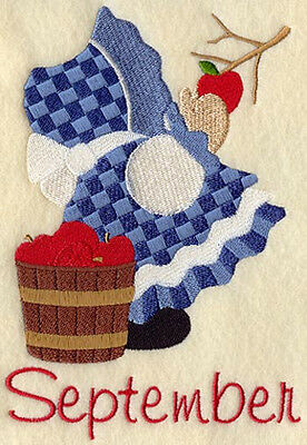 SUNBONNET SUE SEPTEMBER MACHINE EMBROIDERED QUILT BLOCK