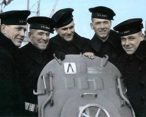 """THE SULLIVAN BROTHERS WWII FEBRUARY 14th 1942 8X10/"""" HAND COLOR TINTED PHOTOGRAPH"""