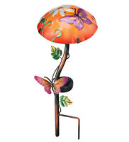 Solar Light, Garden Stake, Mushroom, Butterfly, Glass & Metal, Regal Art & Gift