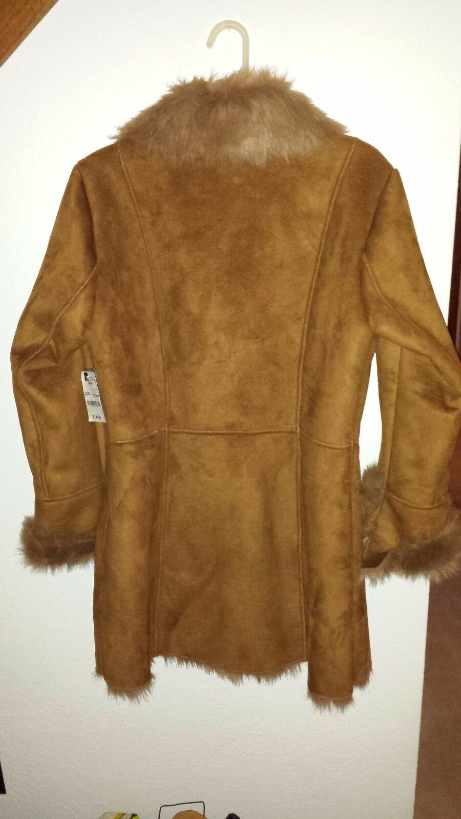 Ladies Ladies Ladies dress coat faux fur lining medium caramel brown women's mid length new 609f42