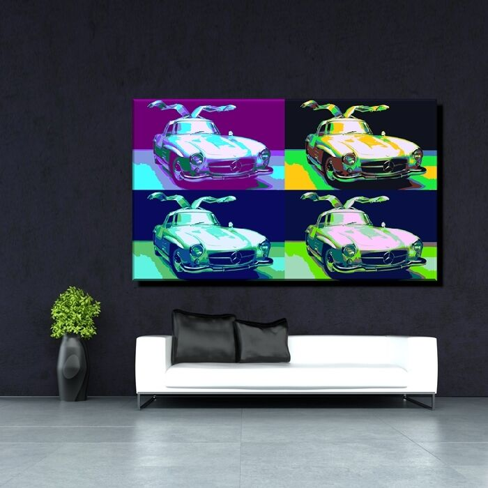 Leinwand Bild Er Xxl Warhol Pop Art Mercedes Benz Sl Oldtimer 1954