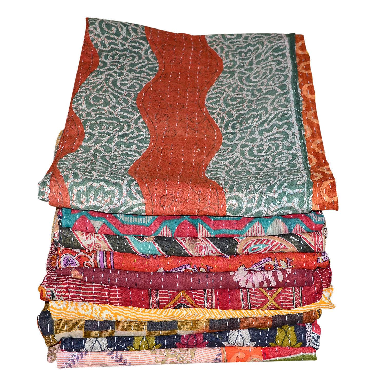 5 Vintage Kantha Quilt Wholesale Lot Ralli Gudri Reversible Blanket Throw Vintag