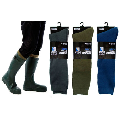 Mens Boys Wellie Boot Over Calf Socks Warmers Size 7-11