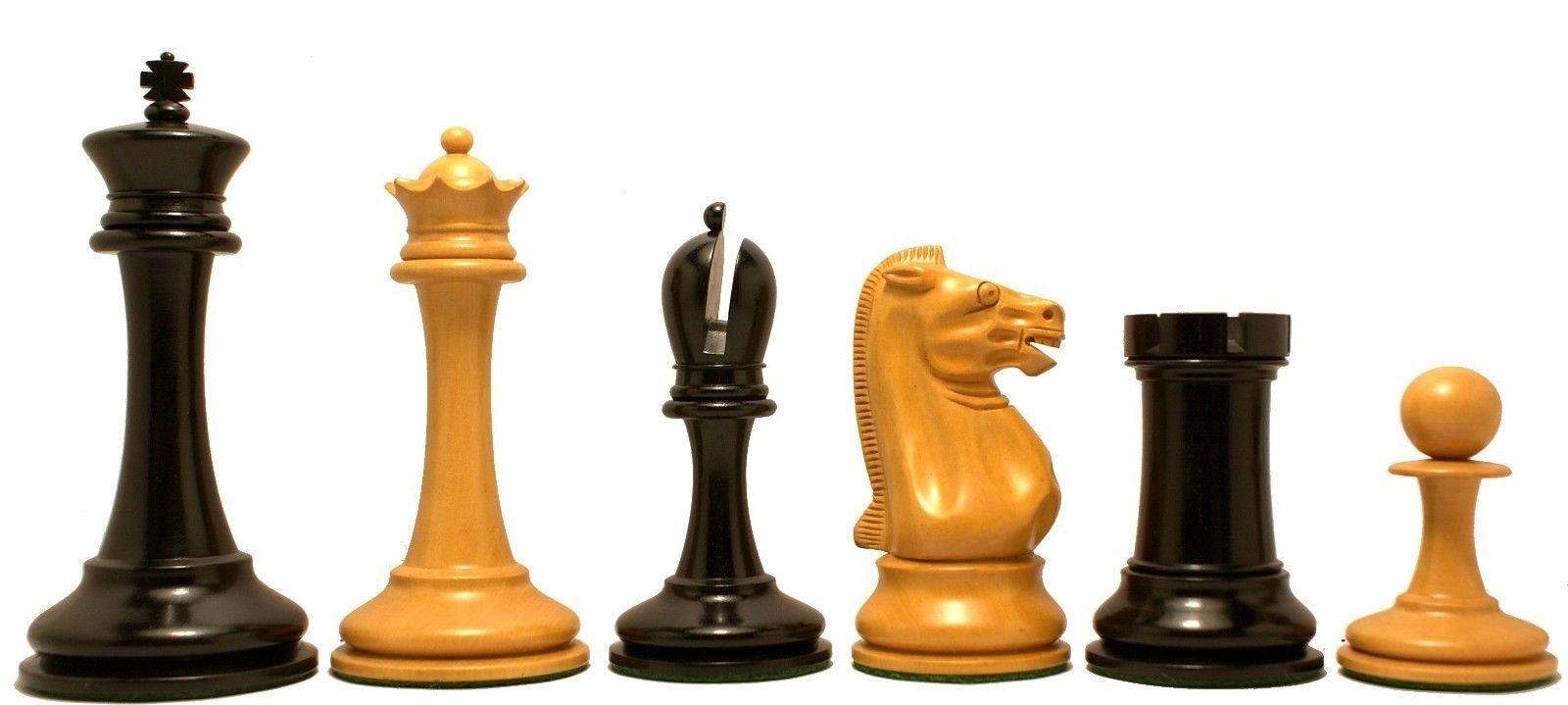 B  & azienda Reproduction Antiqued Premium Staunton 4.4  Ebony Chessmen  presa di fabbrica