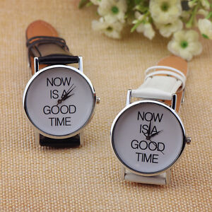 New-Fashion-Watch-NOW-IS-A-GOOD-TIME-New-Letter-Leather-Band-Quartz-Dial-Wristwa