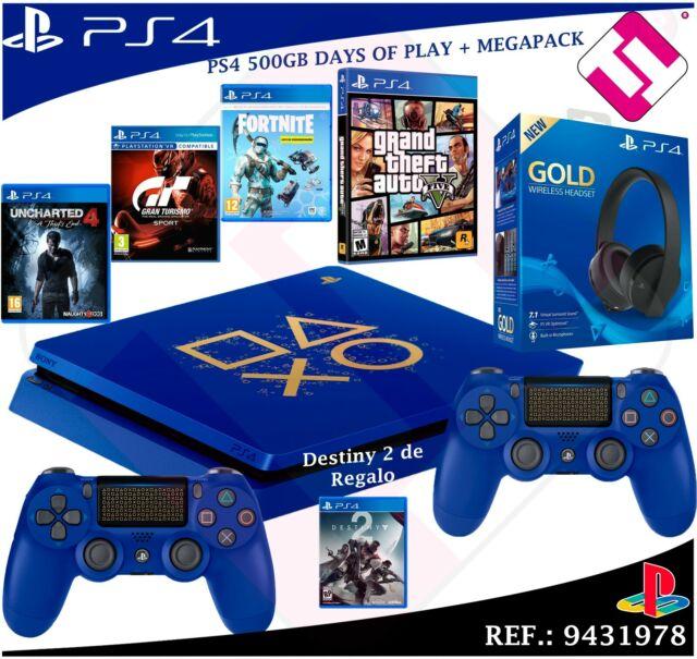 DAYS OF PLAY PS4 500GB 2018 PLAYSTATION 4 + JUEGOS + AURICULAR GOLD 7.1 MEGAPACK