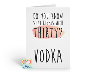 Image Is Loading Funny 30th Birthday Card Vodka Do
