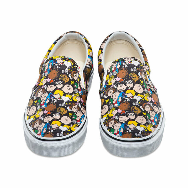 Vans x Peanuts Slip On Snoopy Checkered Skate Shoes Black, Mens Black Skate Shoes