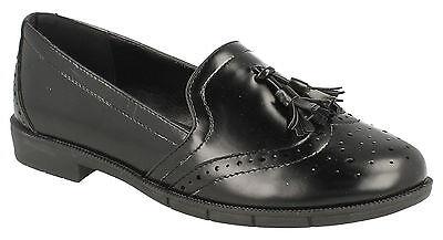 Damen schwarz ohne Bügel Brogues Troddel Spot On Schuhe UK Größen 3 - 8 f80122
