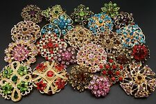 24pc/lot Mixed Vintage Gold Style Rhineston Crystal Brooches Pins DIY Bouquet
