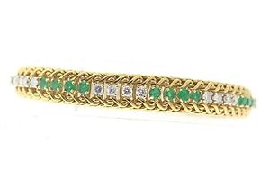 Vintage-18k-Yellow-Gold-1-68ctw-Diamond-amp-2-0ctw-Emerald-Line-Bracelet