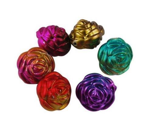 La especial perla mettallic-brillo aproximadamente Rose plana oval 34 17 mm acrílico