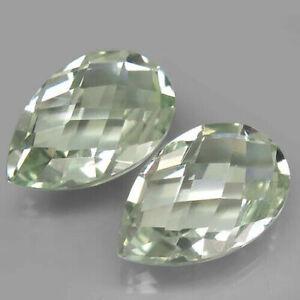 10.03 Carats 15x10mm Pair IF Natural Unheated Green AMETHYST Prasiolite Pear