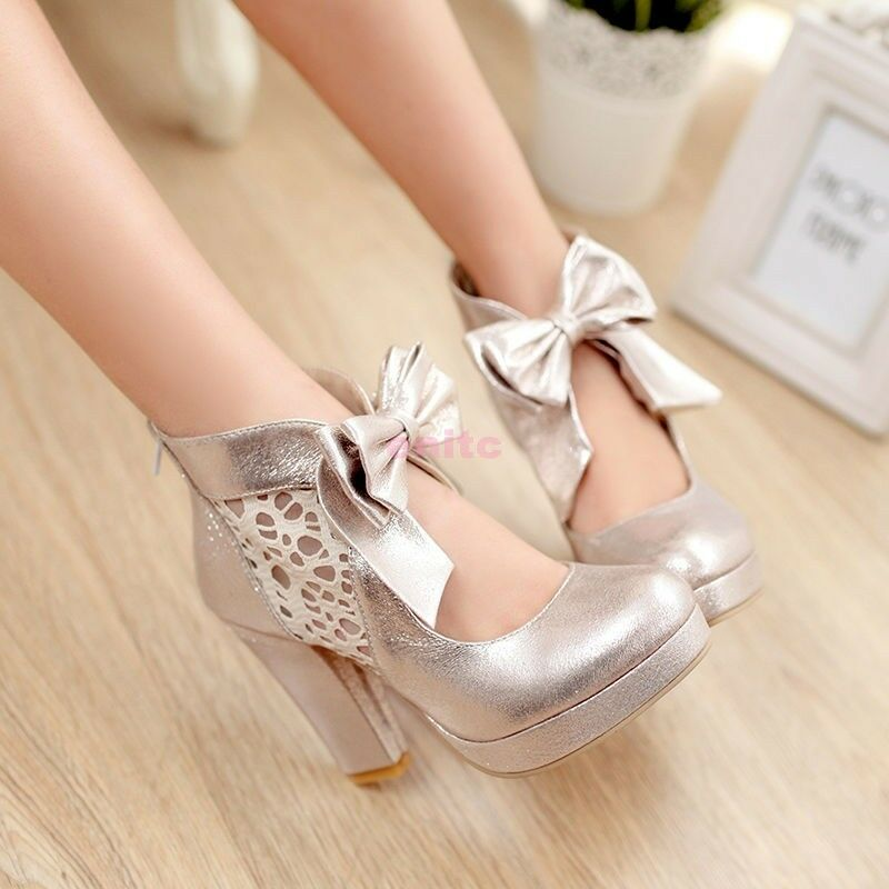 Donna Bowtie Platform Sweet Pumps Chunky Mary Jane Pumps Sweet Party Shoes Fashion Chic 3b0faf