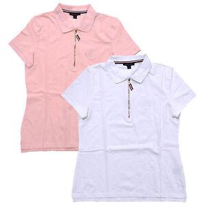 2555fad7ec1 Tommy Hilfiger Womens Polo Shirt Zip Knit Top Monogram Stretch Mesh ...