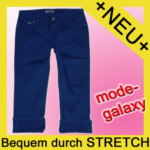 Damen coLoR 3//4 StreTchJeans *royal-blau*  Capri JeanS HoSe Gr.38-48 #D-P51