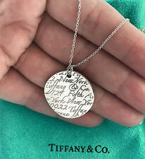 Tiffany & Co 5th Fifth Avenue NOTES Sterling Silver Circle Pendant Necklace