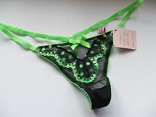 AGENT PROVOCATEUR GREEN & BLACK PENNY TRIXIE G STRING SIZE 4 LARGE UK12-14 BNWT