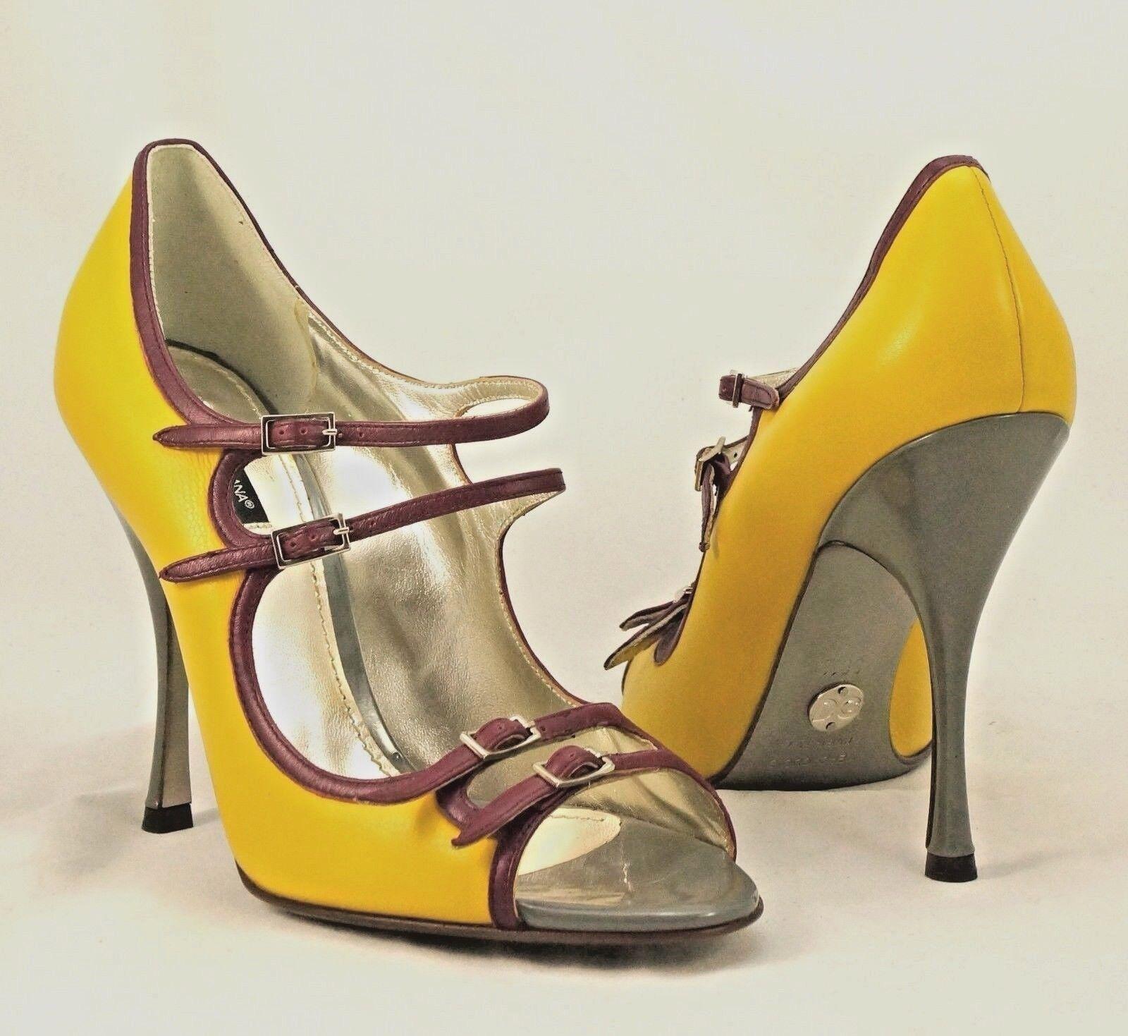 DOLCE & GABBANA Multi-Color Mary Jane Colorblock Multi-Color GABBANA Strappy High Heel Open Toe 39.5 45c1b0