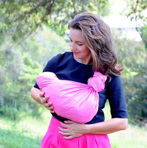 Walkabout Baby Ring Sling Carrier Pouch Wrap Cotton Bubble Gum 5 in 1 New RRP$59