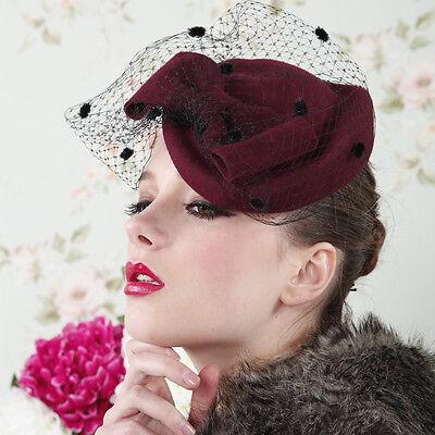 Womens Dress Beret Fascinator Wool  Felt Hat Wedding Church Race Royal Ascot A42