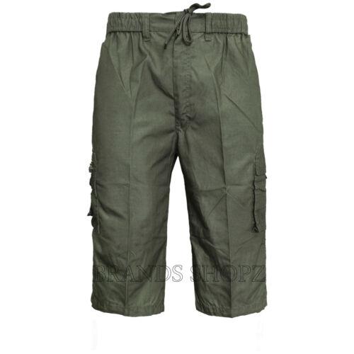 KHAKI MEN/'S SUMMER 6 POCKET COMBAT CARGO CASUAL 3//4 ZIP FLY PANTS SHORTS M-3XL