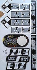 MZ ETZ 251 STICKER SET 9 PIECE SET IN GRAY