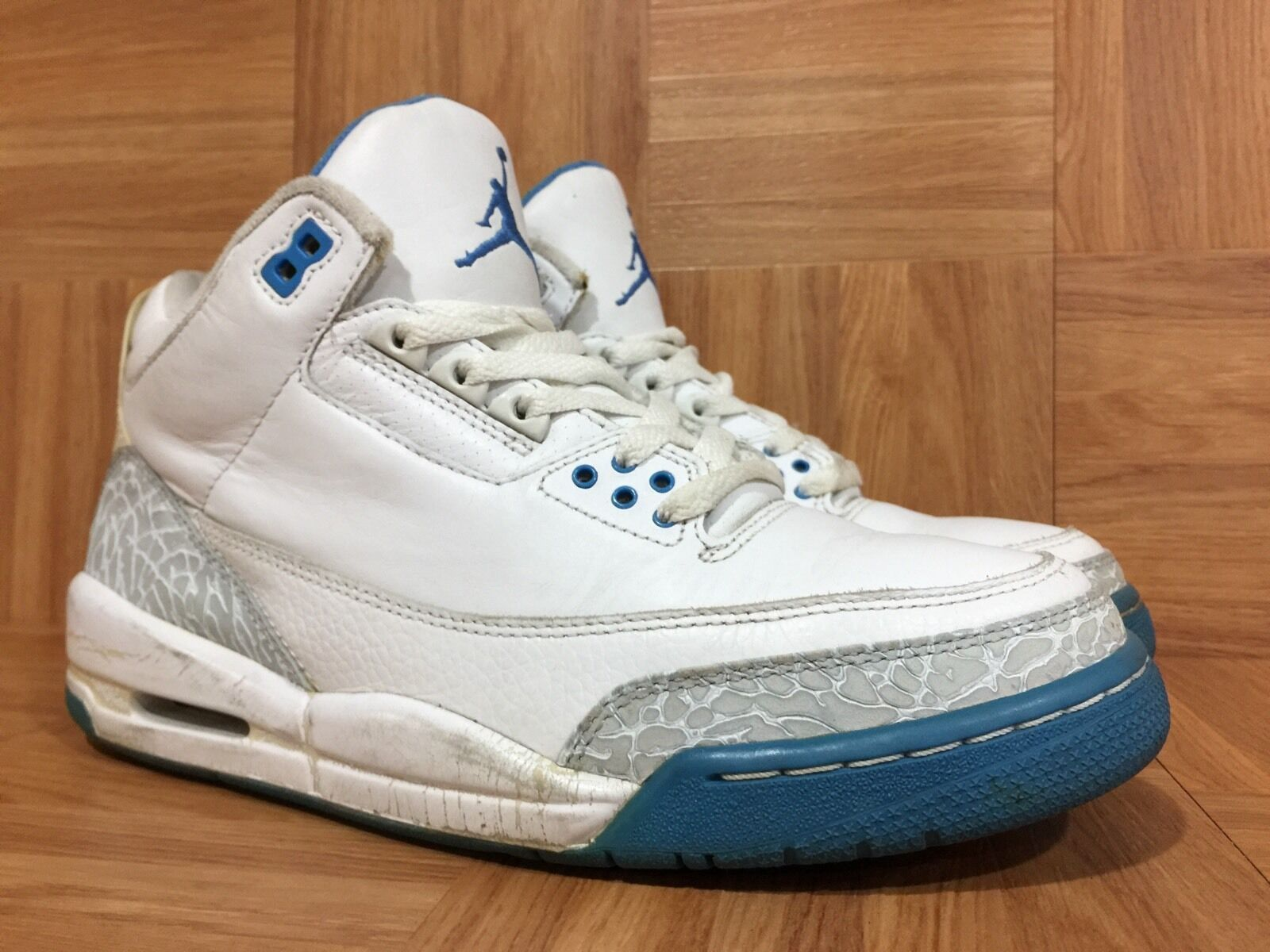RARE  Nike Air Jordan 3 III Retro Harbor Blue Boarder Blue Sz 10 315296-142 Wom