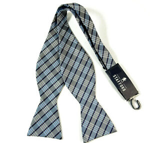 Silver-Gray-Plaid-Bow-Tie-Self-Tie-Bowtie-Light-Blue-Gold-Stripes