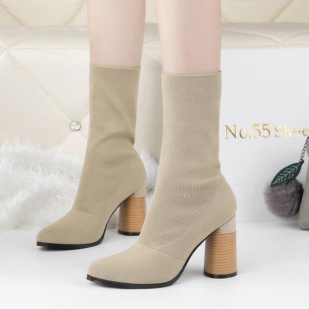 botas bajo tacón de aguja como 9 cm tobillo beige como aguja piel 9559 4d171a