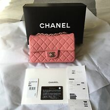 """2013B CHANEL Mini Flap 8"""" Lamb Skin Classic Quilted Pink / Silver Hardware Auth*"""