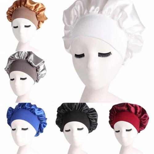 Women Sleep Cap Silk Soft Night Sleeping Hat Long Hair Care Wide Band Bonnet