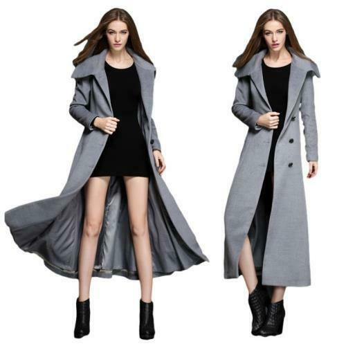 Fall Winter Women Slim Long Maxi Coat Faux Wool Fashion OL Outerwear Trench Sz L