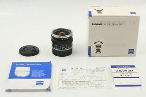 unbenutzt-Carl-Zeiss-Biogon-T-28mm-f-2-8-ZM-M-Mount-Objektiv-Schwarz-aus-Japan